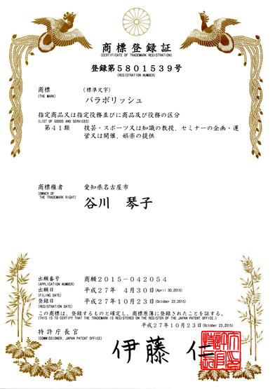 『バラボリッシュ®』商標登録完了。